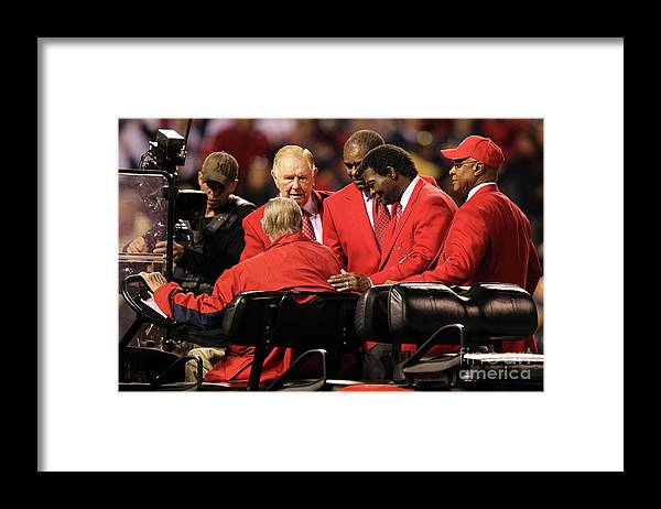 Red Schoendienst Framed Print featuring the photograph 2011 World Series Game 6 - Texas by Jamie Squire