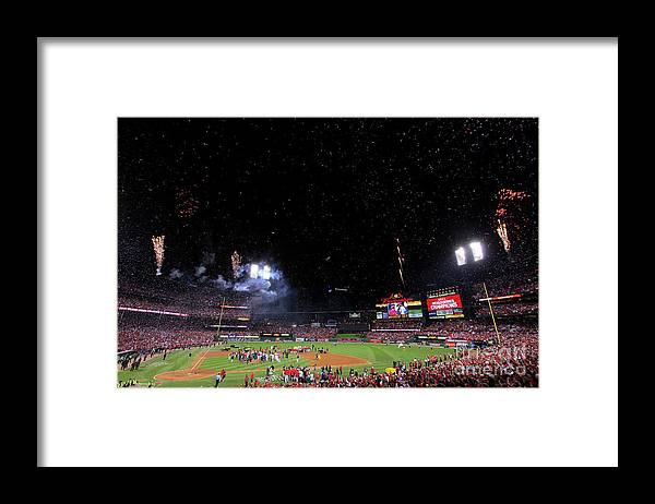 American League Baseball Framed Print featuring the photograph 2011 World Series Game 7 - Texas 1 by Doug Pensinger