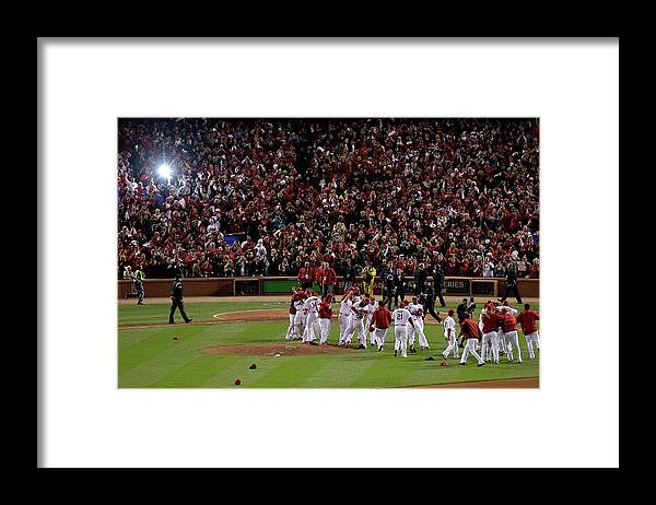 St. Louis Cardinals Framed Print featuring the photograph 2011 World Series Game 7 - Texas by Rob Carr