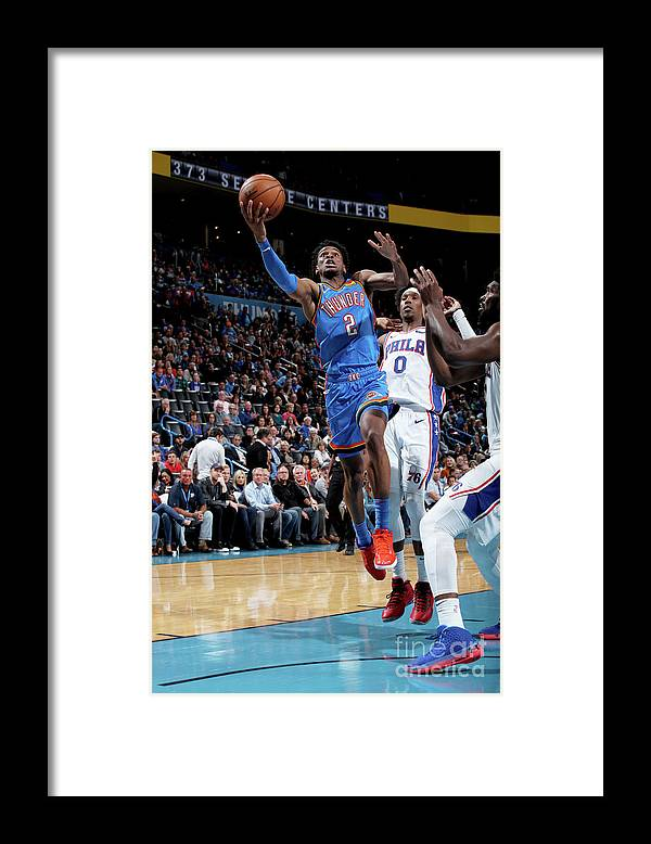 Nba Pro Basketball Framed Print featuring the photograph 76ers Vs Thunder by Zach Beeker
