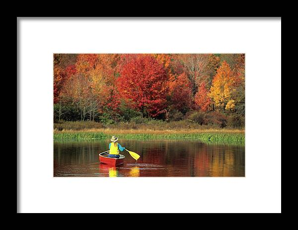 Tranquility Framed Print featuring the photograph A Person Canoeing In Pennsylvania by Beck Photography