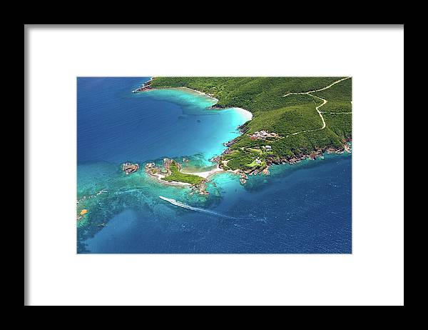 Water's Edge Framed Print featuring the photograph Aerial Shot Of West End, St. Thomas, Us by Cdwheatley