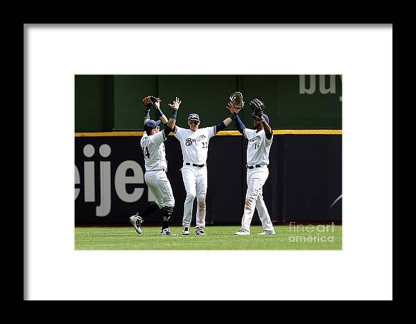 People Framed Print featuring the photograph Arizona Diamondbacks V Milwaukee Brewers 1 by Dylan Buell