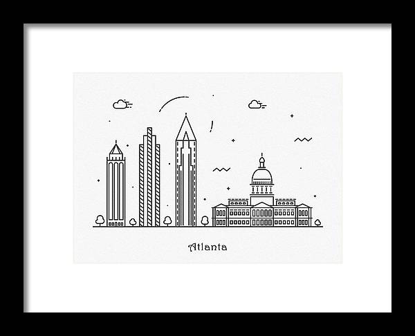 Atlanta Framed Print featuring the drawing Astana Cityscape Travel Poster by Inspirowl Design