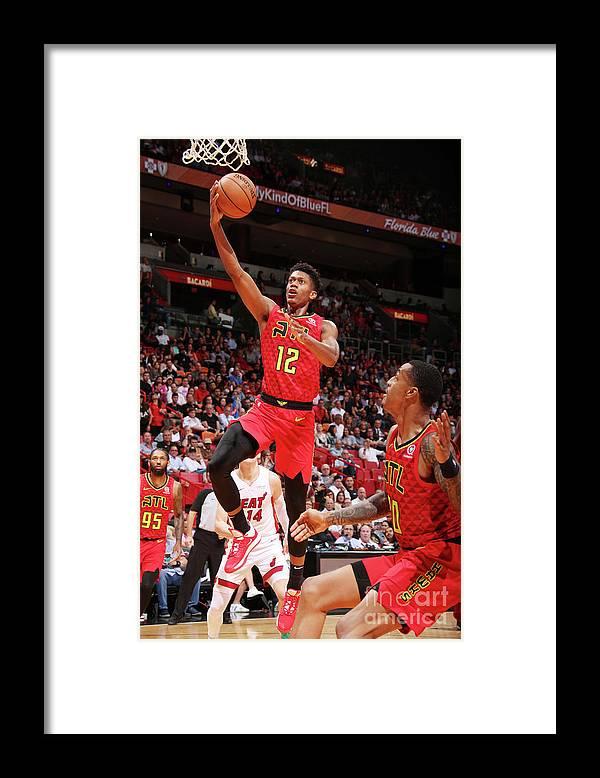 De'andre Hunter Framed Print featuring the photograph Atlanta Hawks V Miami Heat by Issac Baldizon