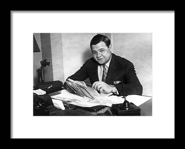 People Framed Print featuring the photograph Babe Ruth by Hulton Archive