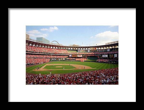 St. Louis Cardinals Framed Print featuring the photograph Baseball - Mark Mcgwire by Icon Sports Wire