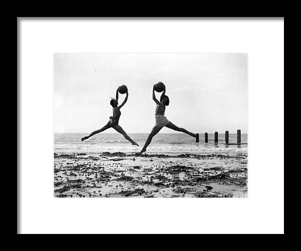 Worthing Framed Print featuring the photograph Beach Dancers by Fox Photos