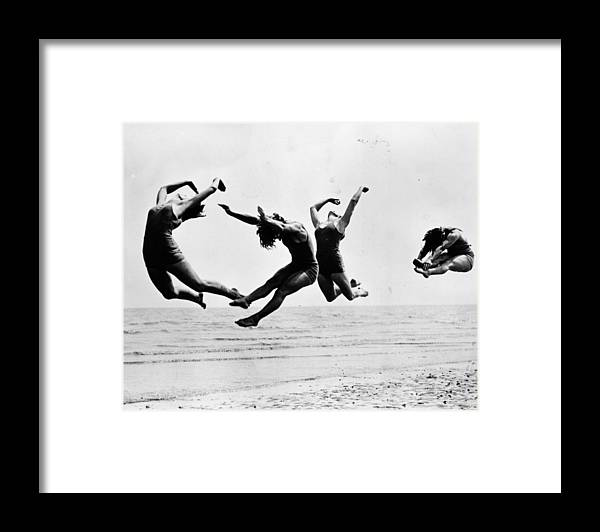 1930-1939 Framed Print featuring the photograph Beach Exercise by Reg Speller