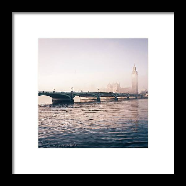 Clock Tower Framed Print featuring the photograph Big Ben And Houses Of Parliament In The by Cirano83