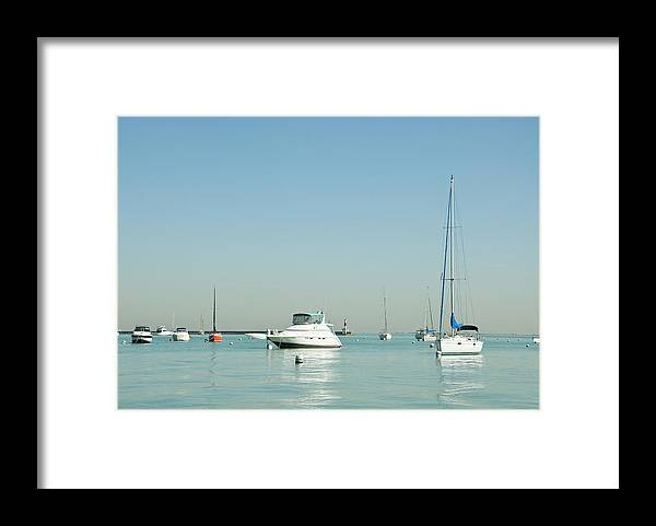 Billabong Framed Print featuring the photograph Boats On Lake Michigan by Weible1980
