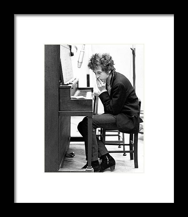 Piano Framed Print featuring the photograph Bob Dylan Records Highway 61 Revisited by Michael Ochs Archives