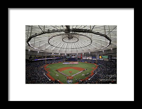 American League Baseball Framed Print featuring the photograph Boston Red Sox V Tampa Bay Rays by Mike Ehrmann