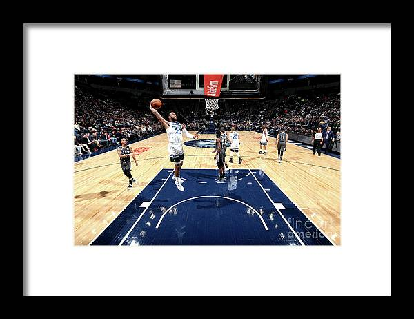 Nba Pro Basketball Framed Print featuring the photograph Brooklyn Nets V Minnesota Timberwolves by David Sherman