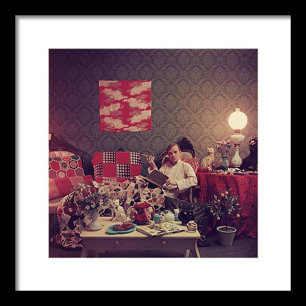 Truman Capote Framed Print featuring the photograph Capote At Home by Slim Aarons