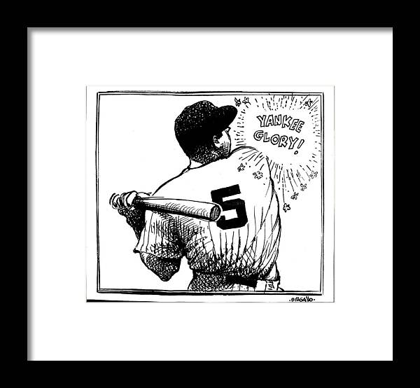 People Framed Print featuring the photograph Cartoon New York Yankees Joe Dimaggio by New York Daily News Archive