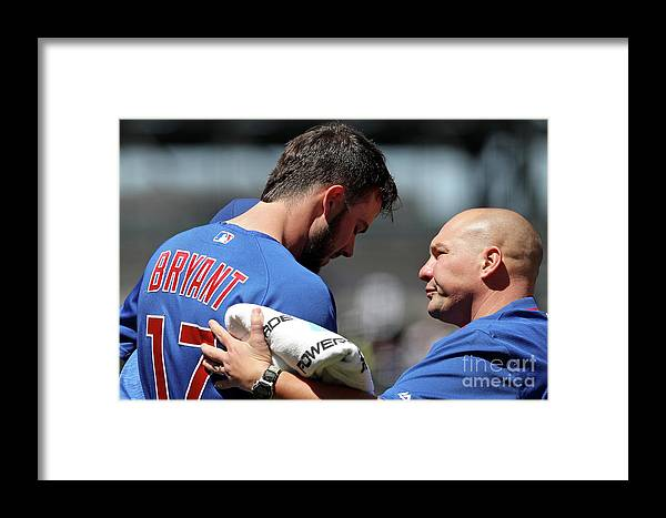 People Framed Print featuring the photograph Chicago Cubs V Colorado Rockies 1 by Matthew Stockman