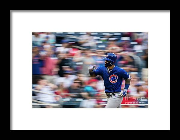Three Quarter Length Framed Print featuring the photograph Chicago Cubs V Washington Nationals by Scott Taetsch