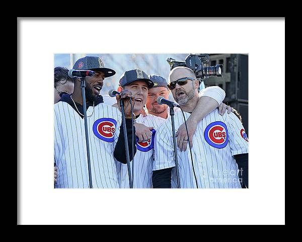 Three Quarter Length Framed Print featuring the photograph Chicago Cubs Victory Celebration 1 by Jonathan Daniel