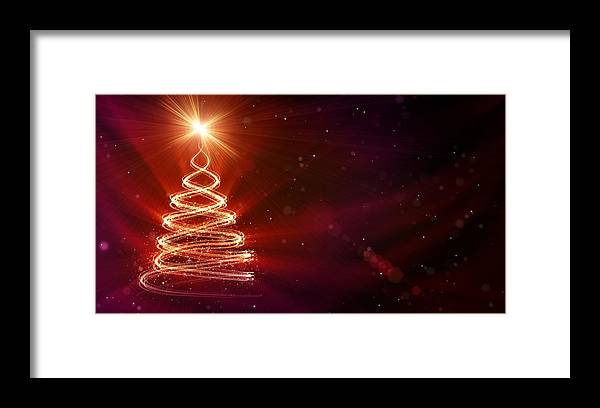 Particle Framed Print featuring the digital art Christmas Background by Da-kuk