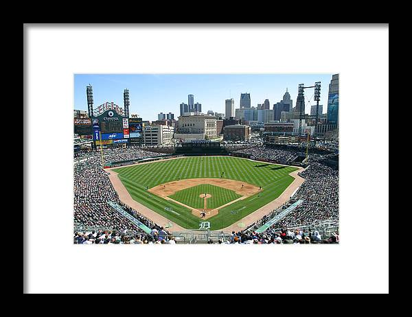 American League Baseball Framed Print featuring the photograph Cleveland Indians V Detroit Tigers by John Grieshop