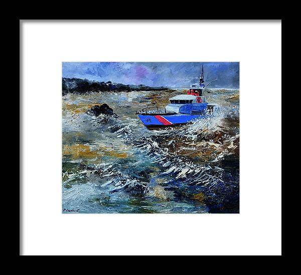 Seascape Framed Print featuring the painting Coastguards by Pol Ledent