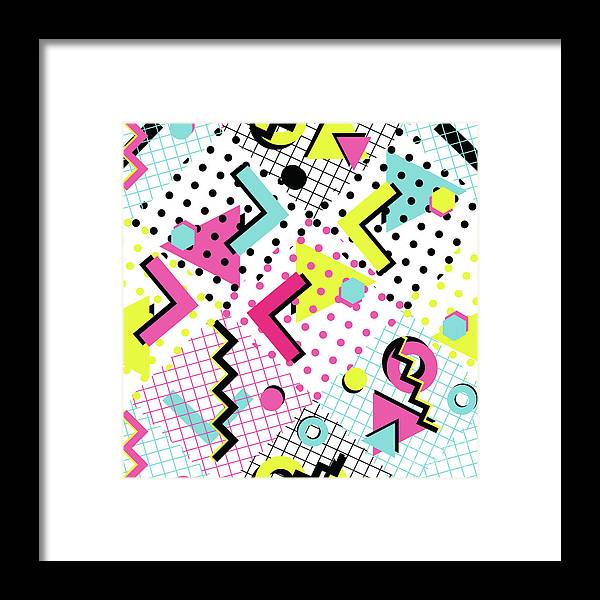 1980-1989 Framed Print featuring the digital art Colorful Abstract 80s Style Seamless by Alex bond