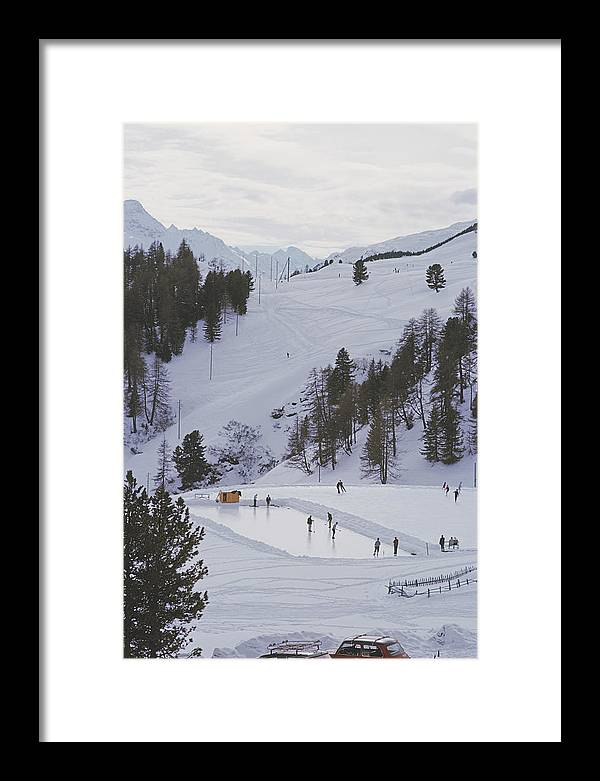 People Framed Print featuring the photograph Curling At St. Moritz by Slim Aarons