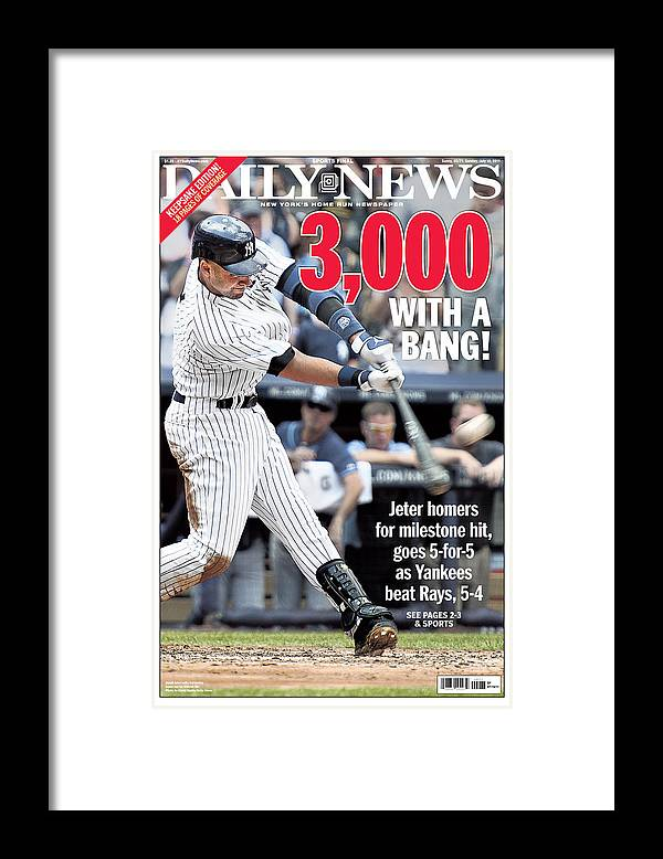 American League Baseball Framed Print featuring the photograph Daily News Front Page Derek Jeter by New York Daily News