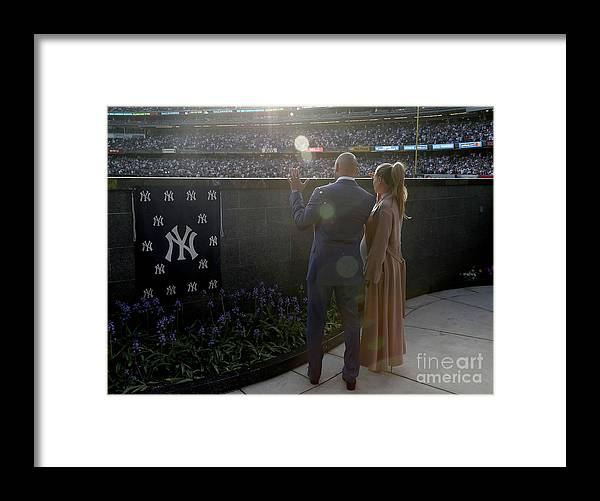 People Framed Print featuring the photograph Derek Jeter Ceremony 1 by Elsa