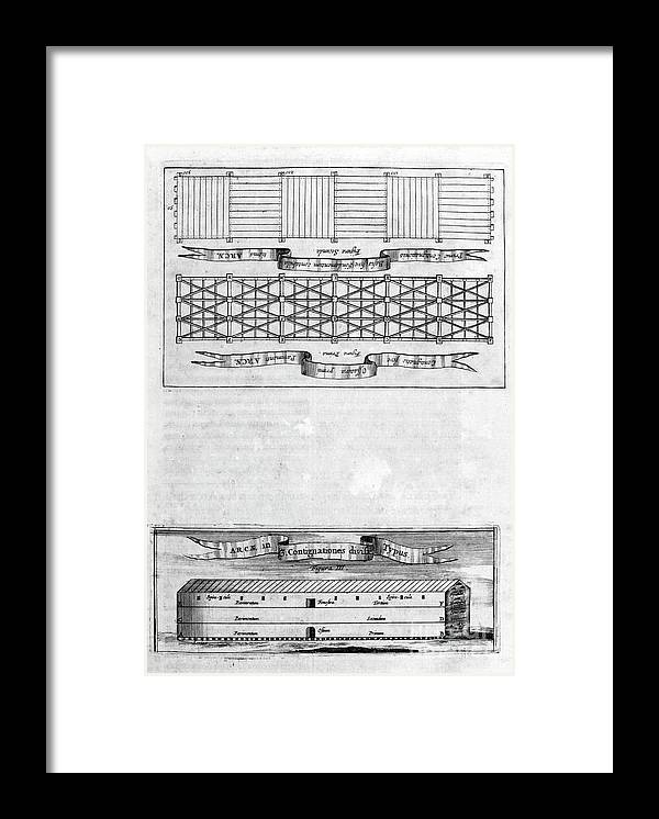 Engraving Framed Print featuring the drawing Description Of The Ark, 1675. Artist by Print Collector