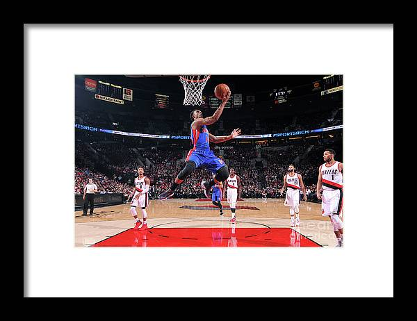 Nba Pro Basketball Framed Print featuring the photograph Detroit Pistons V Portland Trail Blazers by Sam Forencich