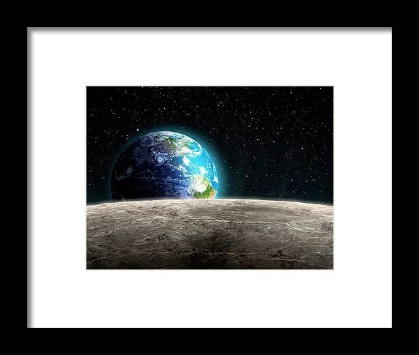 Shadow Framed Print featuring the digital art Earthrise From The Moon, Artwork by Andrzej Wojcicki