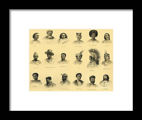 Engraving Framed Print featuring the drawing Ethnology by Print Collector