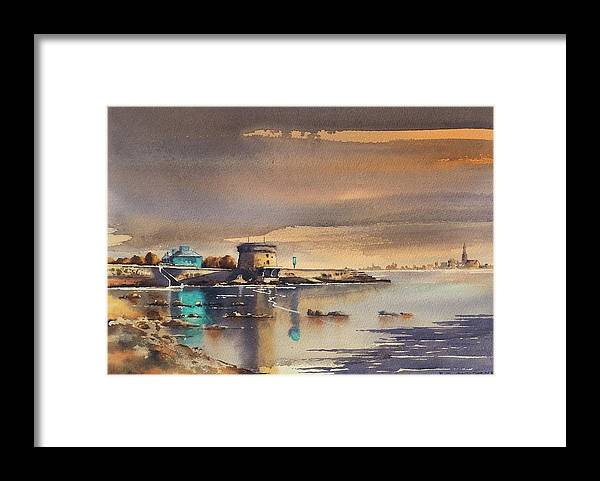 Dublin Framed Print featuring the painting Evening At Seapoint. by Roland Byrne