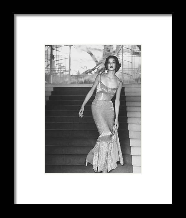 Timeincown Framed Print featuring the photograph Evening Dress Designed By A California D by Gordon Parks