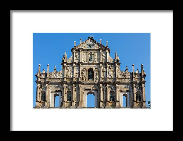 Chinese Culture Framed Print featuring the photograph Facade Of St. Pauls Cathedrail, Macau by Stuart Dee
