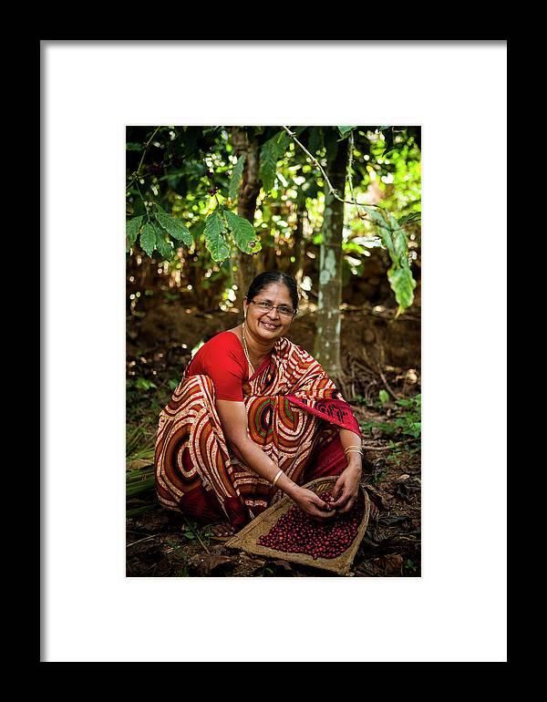 Working Framed Print featuring the photograph Female Coffee Farmer Harvesting Coffee by Simon Rawles