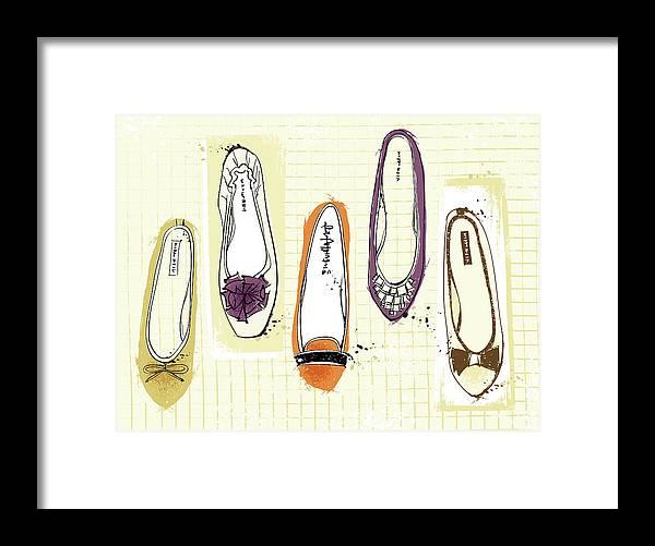 Purple Framed Print featuring the digital art Feminine Shoes by Eastnine Inc.