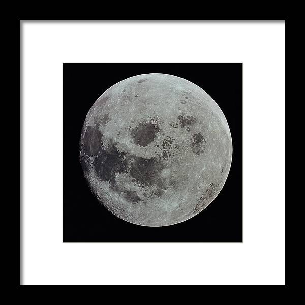 Black Background Framed Print featuring the photograph Full Moon by Nasa