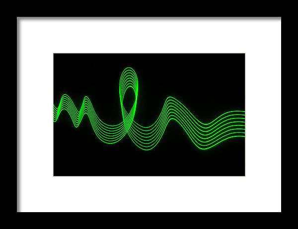 Laser Framed Print featuring the photograph Green Abstract Coloured Lights Trails by John Rensten