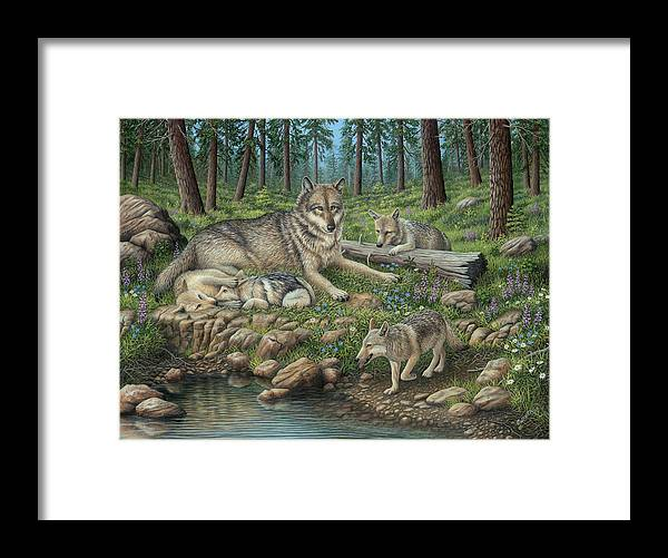 Grey Wolf Mother And Pups Framed Print featuring the photograph Grey Wolf Mother And Pups by Robert Wavra