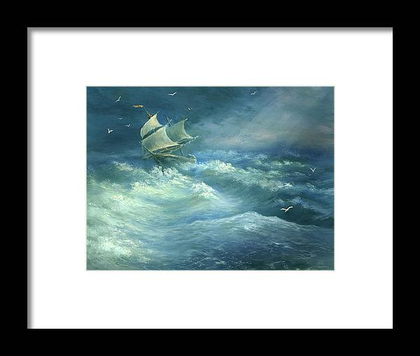Curve Framed Print featuring the digital art Heavy Gale by Pobytov