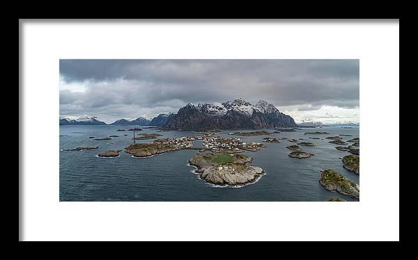 Aerial View Framed Print featuring the photograph Henningsvaer Lofoten by Kai Mueller