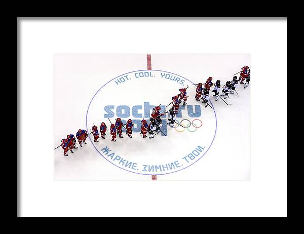 Sochi Framed Print featuring the photograph Ice Hockey - Winter Olympics Day 9 - by Bruce Bennett