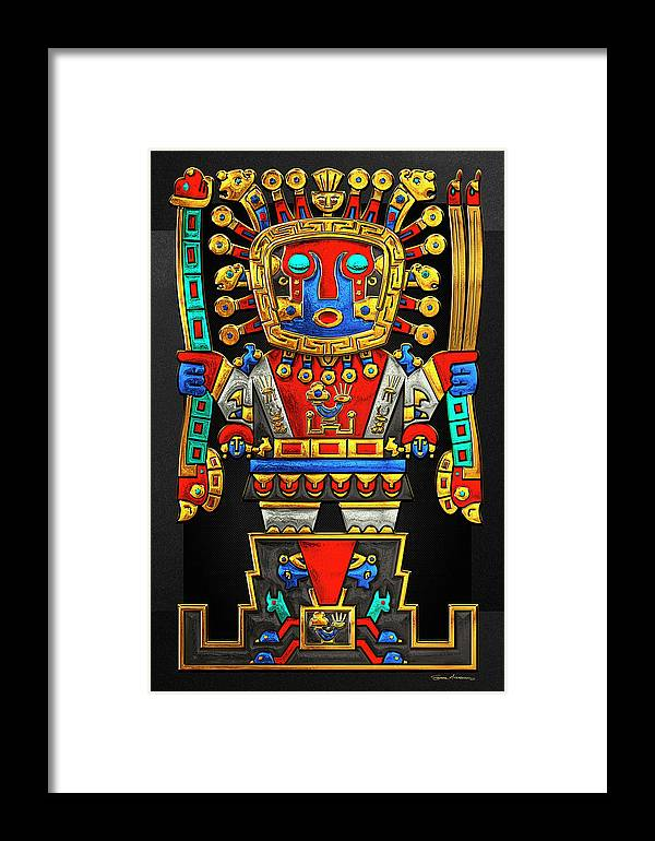 'treasures Of Pre-columbian America' Collection By Serge Averbukh Framed Print featuring the photograph Incan Gods - The Great Creator Viracocha On Black Canvas by Serge Averbukh