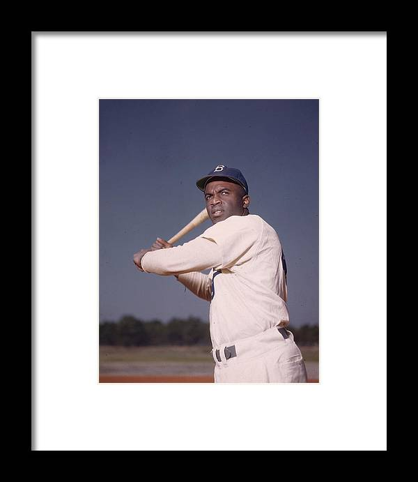 People Framed Print featuring the photograph Jackie Robinson by Hulton Archive
