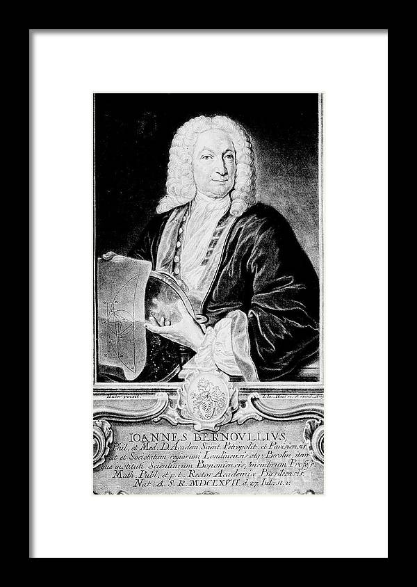 People Framed Print featuring the drawing Jean Bernoulli, Swiss Mathematician by Print Collector