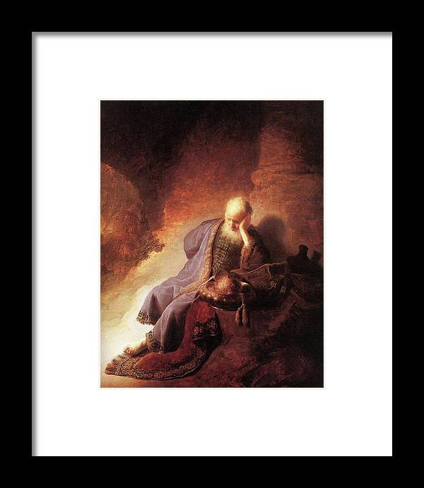 Rembrandt Framed Print featuring the painting Jeremiah Lamenting The Destruction Of Jerusalem by Rembrandt