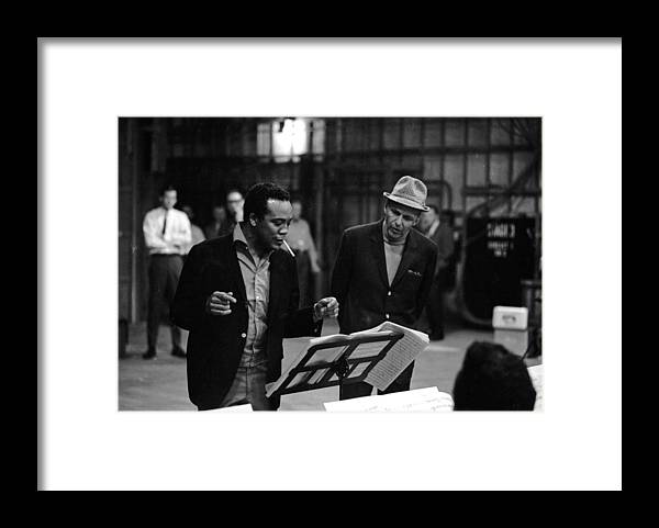 Working Framed Print featuring the photograph Jones & Sinatra In Studio by John Dominis